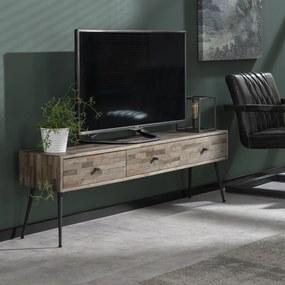 Tv-meubel Teakhout Greywash - 150x30x45cm.