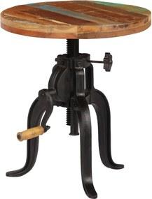 Bijzettafel 45x(45-62) cm massief sloophout en gietijzer