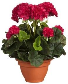 Kunstplanten - Begonia Donkerroze in Pot Terra 38 x 30 cm