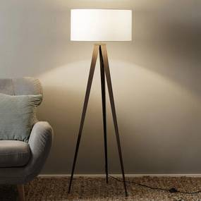 Drieb vloerlamp Benik, witte lampenkap, walnoot - lampen-24