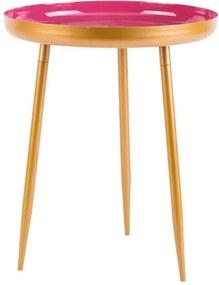 IRENA Bijzettafel goud, roze H 49 cm; Ø 41 cm