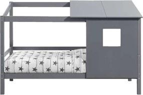 Bed Ties met opzetdak - antraciet - 90x200 cm - Leen Bakker