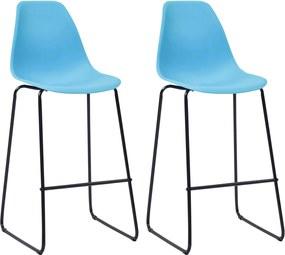 Barstoelen 2 st kunststof blauw