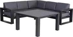 Cube hoek dining loungeset 4 delig aluminium antraciet