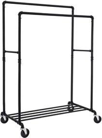 Nancy's Kledingrek Op Wielen - Dubbele Stang Tot 110 kg – Oprolbare Kledingkast – Mobiele Kapstok - Kledingrekken