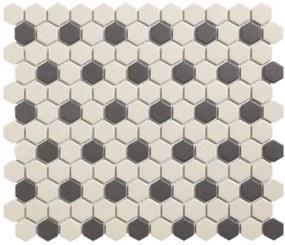 The Mosaic Factory London mozaiëktegel 2,3x2,3x0,6cm hexagon onverglaasd porselein vloertegel voor binnen en buiten vorstbestendig 36 stippen wit met zwart LOH-Mayfair-36