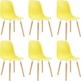 Eetkamerstoelen 6 st kunststof geel