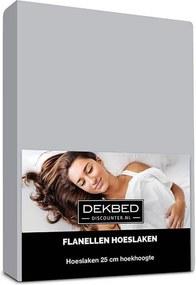 Dekbed-Discounter Verwarmend Flanel Hoeslaken - Grijs 80/90 x 200 cm