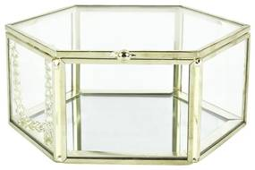 Opbergdoosje hexagoon - goud - 12.5x12.5x5.5 cm