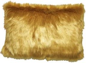 Kussen geel bont, langwerpig, Fur Met binnenkussen 50 x 35 cm