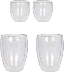 Bodum Dubbelwandig glas 8 cl en 35 cl set van 4