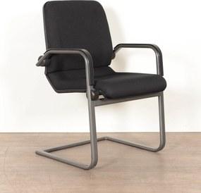 Vergaderstoel  4803, zwart opnieuw gestoffeerd, beweegbare rug, antraciet slede frame