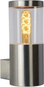 Lucide wandlamp buiten FEDOR IP44 - mat chroom - 10,2x14,5x23 cm - Leen Bakker
