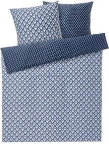 Perkal dekbedovertrek 200 x 200 cm Blauw/grijs geruit