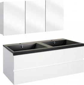 Concept badmeubelset met spiegelkast 120cm, wit/zwart