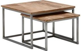 Goossens Salontafel Kay vierkant, hout mango bruin, urban industrieel, 65 x 42 x 65 cm