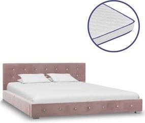 Bed met traagschuim matras fluweel roze 140x200 cm