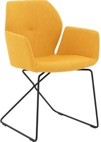 Goossens Eetkamerstoel Manzini geel stof met arm, modern design