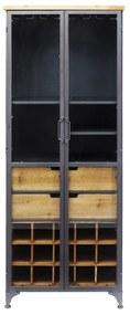 Kare Design Refugio Metalen Wijnkast Met Hout - 60x40x156cm.