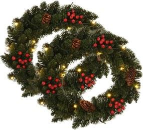 Kerstkransen 2 st met decoratie 45 cm groen