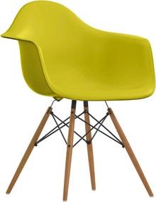 Vitra DAW stoel onderstel essen mosterdgeel