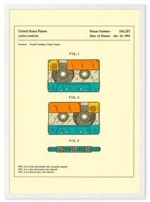 Retro Patent Cassette door Jazzberry Blue, ingelijste print, A2, meerkleurig