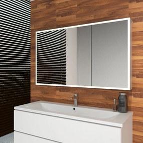 Spiegelkast Quatro 120x70x13cm Aluminium Geintegreerde LED Verlichting Sensor Lichtschakelaar Stopcontact Glazen Planken