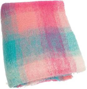 Plaid brushed mohair: roze, lichtgroen, paars