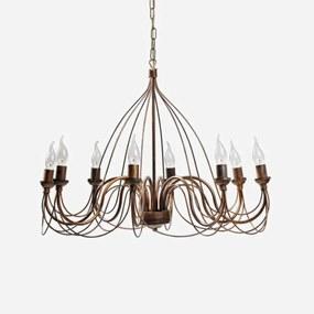Metalen kroonluchter Thida, antiek goud, 8 lampen