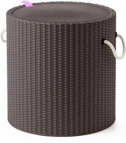 Krukje/koelbox met touw handvatten taupe 219430