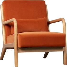 Woood Mark Retro Fauteuil Oranje Fluweel