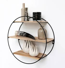 Zwart metalen wandrek met 3 houten plankjes - Rond - 50x19 cm