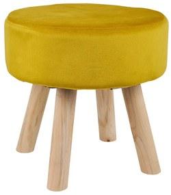 Krukje velvet met houten poten - geel - 35x35 cm