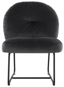 Must Living Bouton Fluwelen Design Fauteuil Donkergrijs