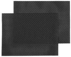 Placemats - 32 X 42 - Kunststof - Zwart - 2 Stuks (zwart)