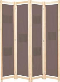 Kamerscherm met 4 panelen 160x170x4 cm stof bruin
