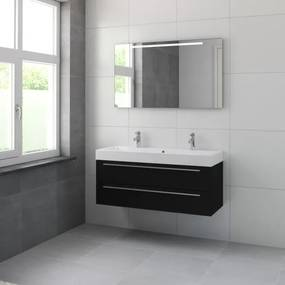 Bruynzeel Bando badmeubelset 120x55x45cm met spiegel aluminium greeplijst zijde zwart 616644k