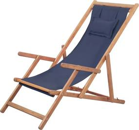Strandstoel inklapbaar stof en houten frame blauw