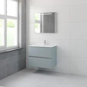 Bruynzeel Miko badmeubelset 66x81x51cm 1 kraangat 1 wasbak 2 lades met spiegel met softclose fjord groen 123102172