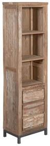 Tower Living Boekenkast Teak Met Wit Venetie - 50x35x180cm.
