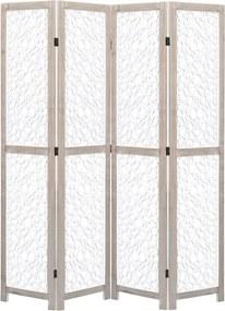 Kamerscherm met 4 panelen 140x165 cm massief hout wit