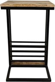 HSM Collection bijzettafel met tijdschriftenrek Ivan - naturel/zwart - 38x30x65 cm - Leen Bakker