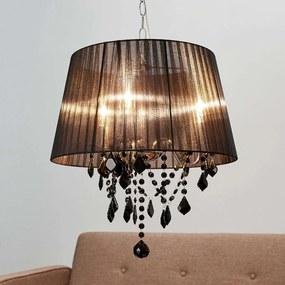Hanglamp Inaya met zwarte stoffen kap