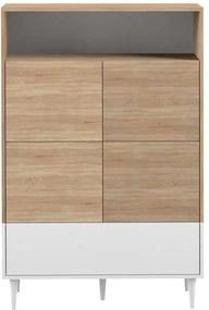 Symbiosis wandkast Esby - eikenkleur/wit - 140,6x90x40 cm - Leen Bakker
