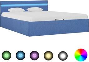 Bedframe met hydraulische opslag en LED stof blauw 140x200 cm