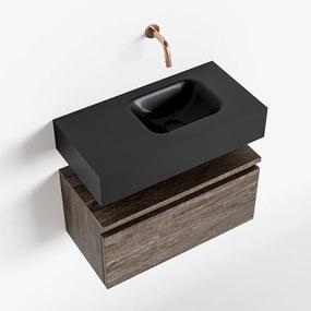 MONDIAZ ANDOR 60cm toiletmeubel dark brown. LEX 60cm wastafel urban rechts geen kraangat