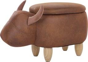 Hocker kunstleer bruin COW