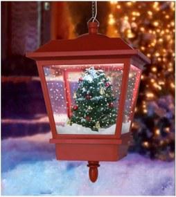 Hanglamp met sneeuweffect kerstrood kerstboom