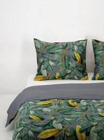 Dekbedovertrek - Hotel Katoen Satijn - Tropische Bladeren Grijs (grijs)