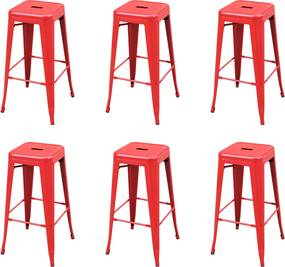 Barkrukken 6 st staal rood